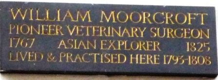 Plaque on the site of William Moorcroft's practice