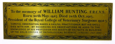 Plaque which accompanies the portrait of William Hunting