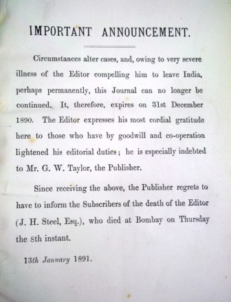 Announcement of closure of journal