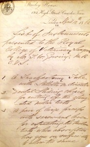 List of dental instruments donated by Thomas Gowing