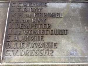 Close up of memorial at Baeumont House showing Dixie's name