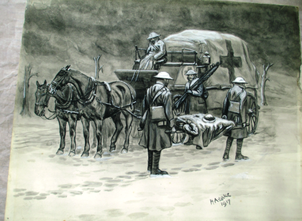 Horse pulled ambulance by Herbert Lake 1917