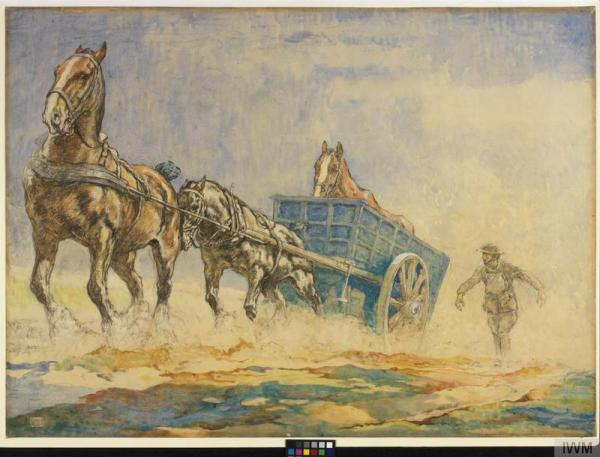 A Horse Ambulance Pulling a Sick Horse out of a Field by Edwin Noble