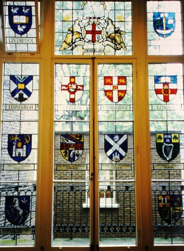 Window containing the Coats of Arms in Belgrave Square